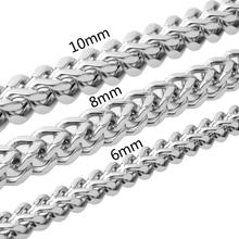 6/8/10MM Huge Heavy 316L Stainless Steel Silver Square Box Figaro Chain Men's Unisex's Necklace Biker Jewelry 23.6 Xmas Gift cellular line fine чехол для apple iphone 7 plus 8 plus clear
