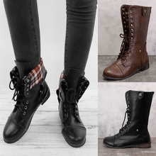 2019 Women Motorcycle Boots Winter botas mujer British Style Ankle Boots Gothic Punk Leather Ankle Boot Vintage Women Shoes D25