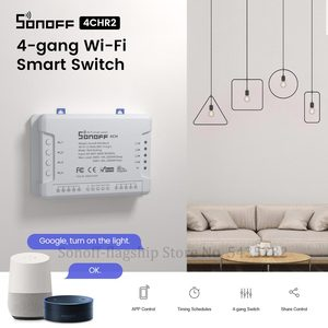 Image 1 - Itead SONOFF 4CH R2 Wifi Wireless Remote Control Relay Module Switch 4 Gang Channel Light Timer Switch Smart Home Automation