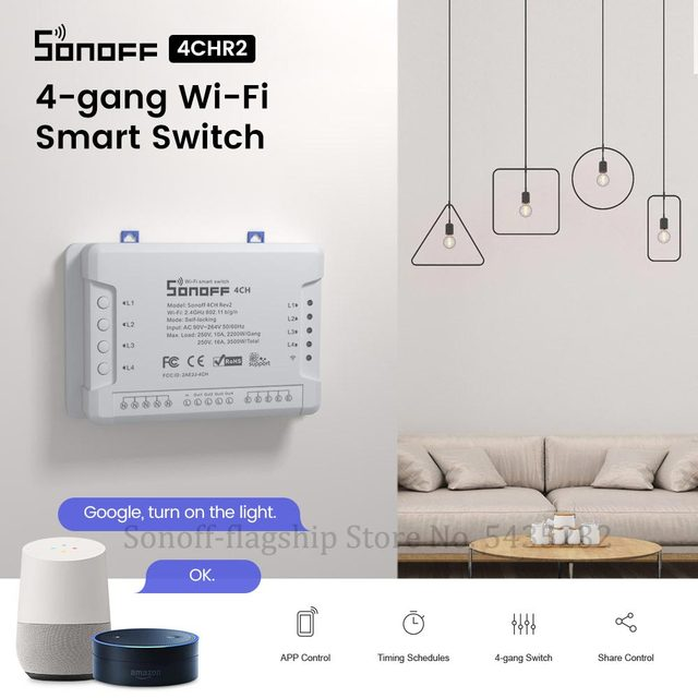 Itead SONOFF 4CH R2 Wifi Wireless Remote Control Relay Module Switch 4 Gang Channel Light Timer Switch Smart Home Automation