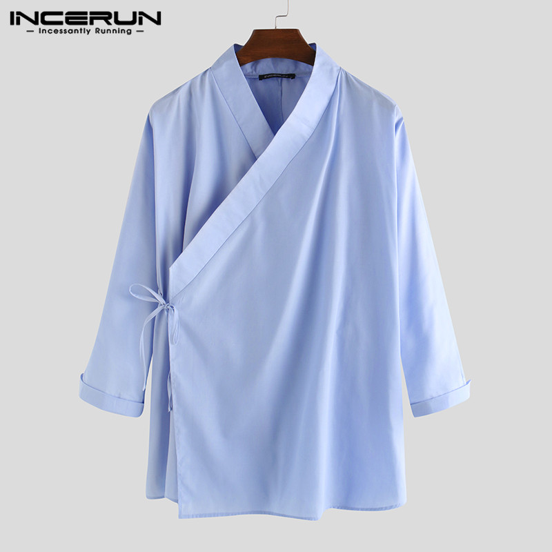 INCERUN Chinese Style Men Shirt Solid Hanfu Long Sleeve Lace Up 2020 Stand Collar Vintage Male Shirts Elegant Retro Camisa S-5XL