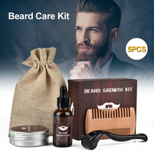 Beard Growth Kit Barbe Hair Growth Enhancer Set Beard Nourishing Growth Essential Oil Facial Beard Care with Beard growth roller