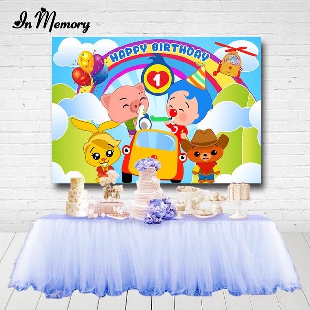 InMemory Cartoon Payaso Plim plim Backdrops For Photography Cute Kids 1st Birthday Backgrounds Boys Baby Shower Banner Custom