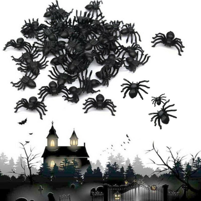 50pcs Eco-friendly Black Night Light Simulation Plastic Small Spider Halloween Decoration Mini Spider Small Toy 2/1.5cm