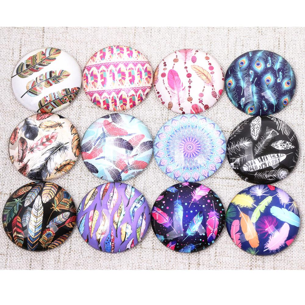 Onwear Mixed Color Feather Pattern Photo Glass Cabochon 12mm 20mm 25mm 16mm Diy Jewelry Findings For Earrings Pendants Making