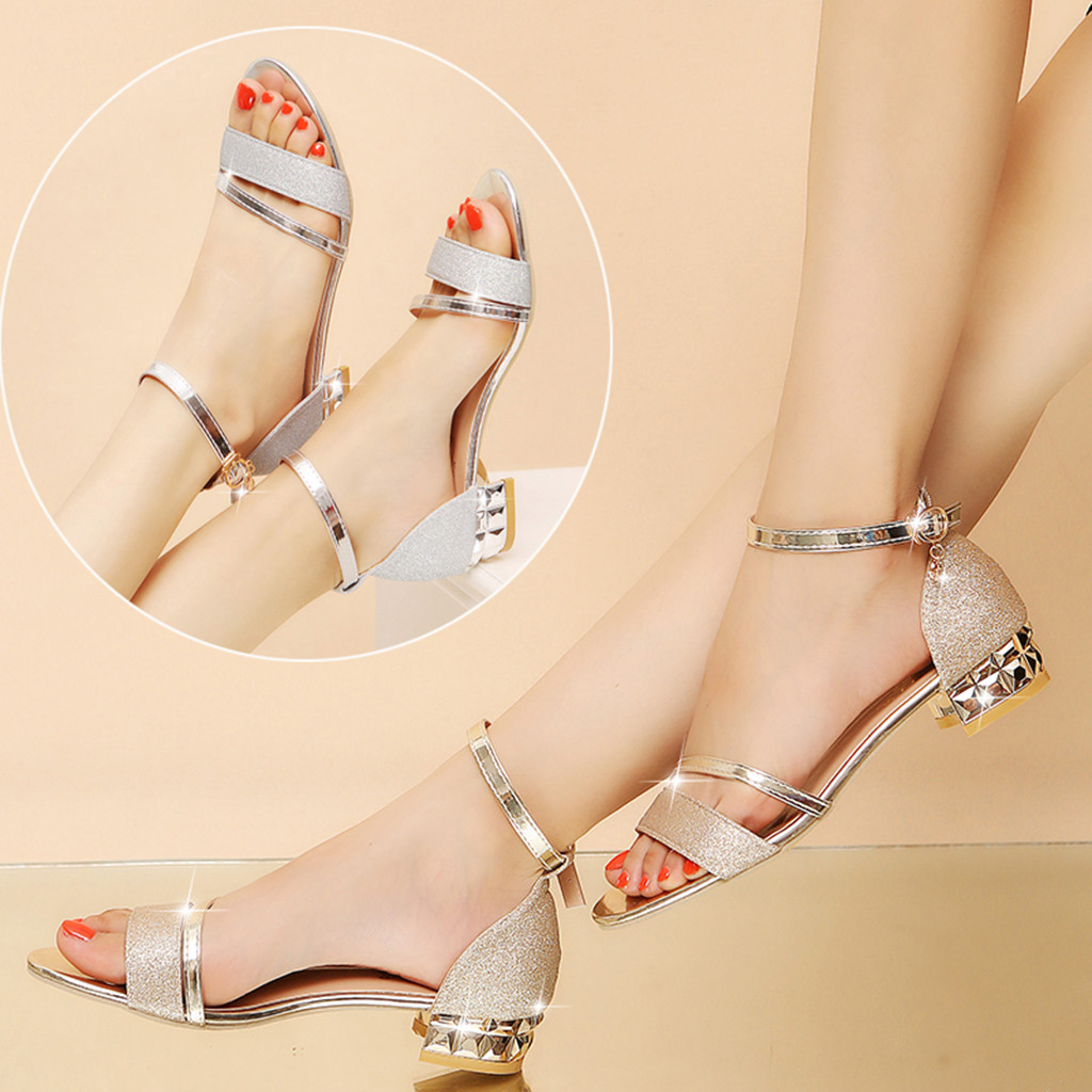 2020 Ladies Sandals Shoes Women L Luxury High Quality Sandals Ankle Mid Heel Block Party Open Toe Square Shoes Zapatos De Mujer 2