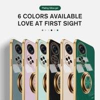 Luxus Überzug Silikon Finger Ring Halter Fall Für Huawei P50 Abdeckung Shell P40 P30 P20 Mate 40 30 20 Nova 8 7 6 5T Pro Lite SE