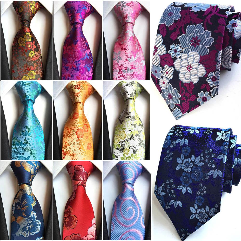 Mens Wide Ties Floral Paisley Printed Neckties Wedding Party Business Neck Tie