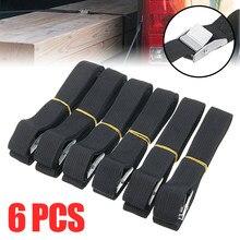Corde de Tension automatique pour voiture, 250x2.5cm, 6 pièces, sangle d'arrimage à cliquet solide, ceinture de sac à bagages, arrimage de cargaison, boucle métallique, tendeur de corde de remorquage