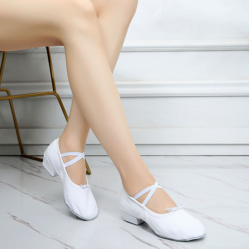 Four-human Woman Dance Shoes Canvas Ballet Shoes Soft Bottom Girls Low Heel Exercise Ballet Shoes