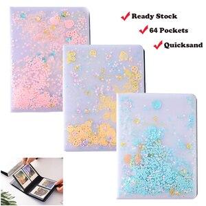 Image 1 - 3 Cal Quicksand cekiny 64 kieszenie Instax Mini Film Album fotograficzny do FujiFilm Instax Mini 8, Mini 9 7s 50 90 papier do filmów Fuji