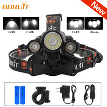 BORUiT 5000lumens LED lampe frontale torche blanche L2 LED IPX6 étanche phare Camping vélo lumière Rechargeable lampe frontale(China)