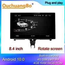 Ouchuangbo – autoradio Android 10, 8.4 pouces, lecteur multimédia, enregistreur, GPS, compatible MMI 8 cœurs, pour voiture S7 S6 A7 A6 C7 RS6 RS7 2012 – 2018