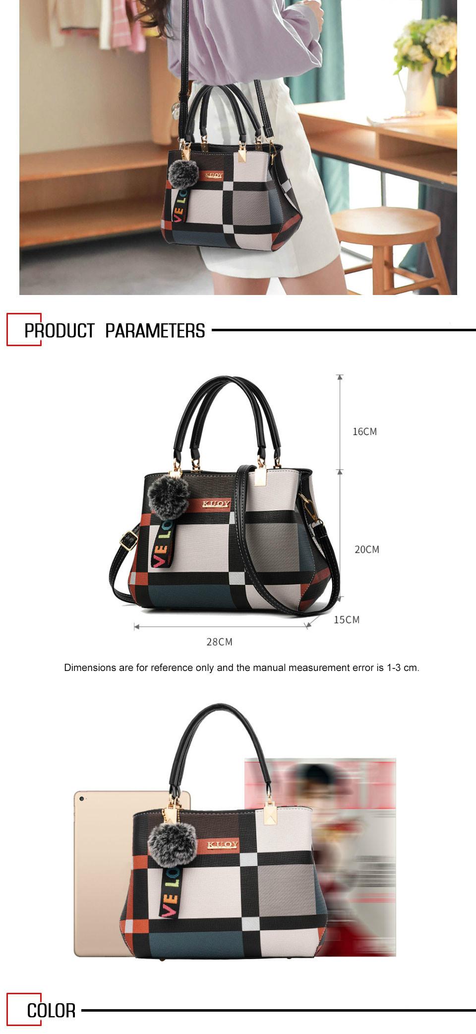 Valenkuci New Casual Plaid Shoulder Bag Fashion