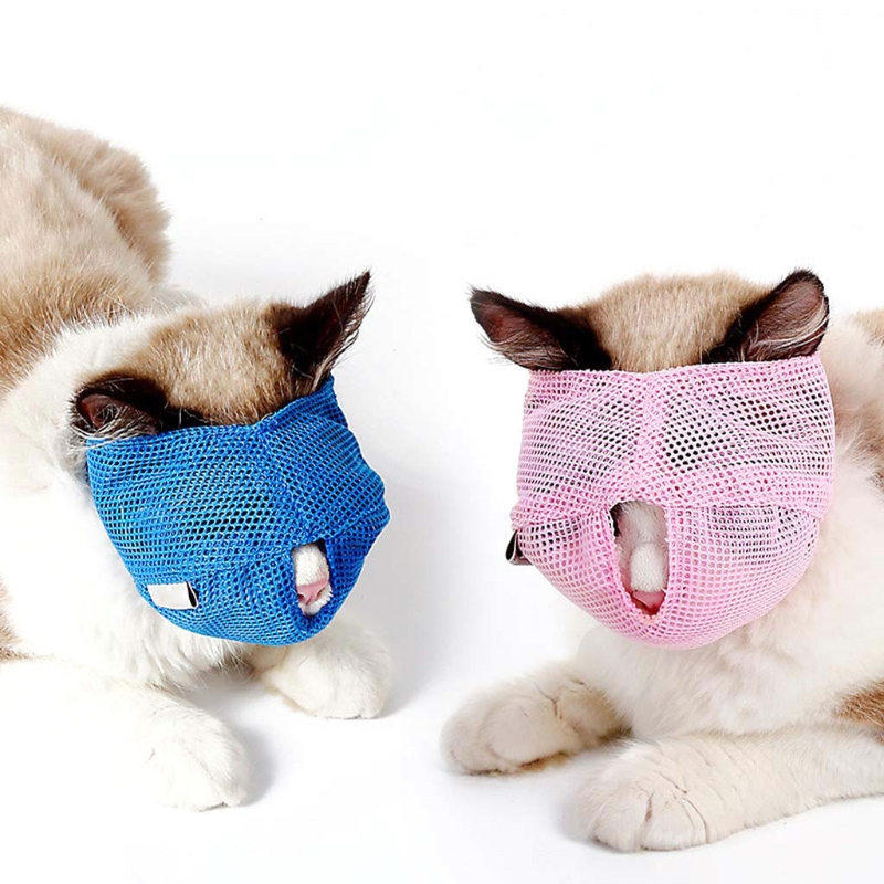 Large Breathable Mesh Cat Anti Bite Muzzles Multifunction Pet Travel Bath Beauty