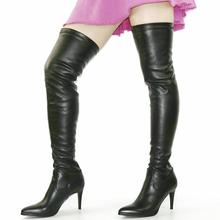 NAYIDUYUN Fashion Women Black Leather Point Toe Thigh High Boots Over The Knee Heels Pumps Slim Leg Tall Slip on Sexy
