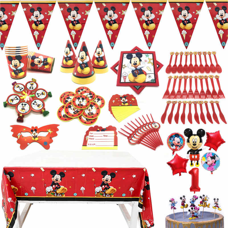 Mickey Mouse Theme Birthday Party Supplies Paper Cup Plate Straws Flags Blowout Party Tablecloth Kids Favor Toys Decor Balloons