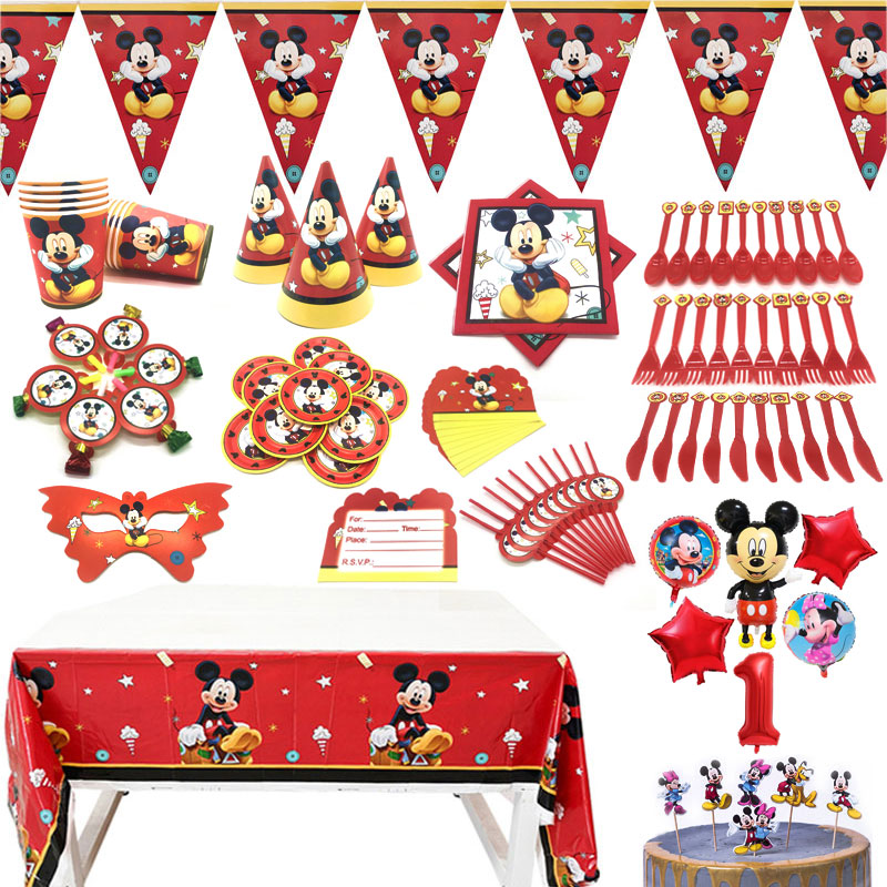 מיקי עכבר נושא יום הולדת ספקי צד נייר כוס צלחת קשיות דגלי התפרצות מסיבת מפת שולחן ילדים טובות צעצועי בלוני עיצוב