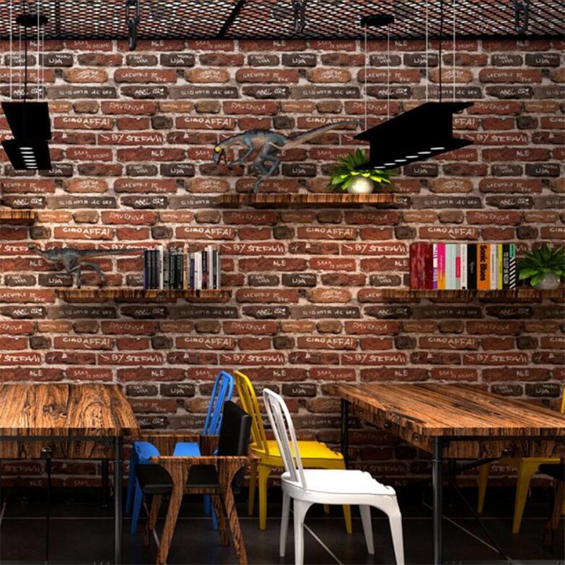 Wellyu Graffiti papier peint personnalité anglais alphabet fond mur industriel vent rétro nostalgique brique papier peint