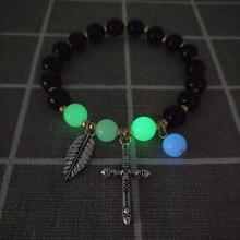 Reiki glow elastic bracelets metal cross infinite bracelet for men women Luminous popular Cross Natural Volcanic Stone Bracelet