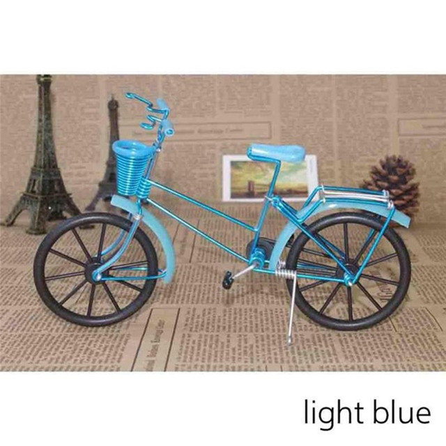 Antique Bike Model Metal Craft Home Decoration Vintage Bicycle Figurine Miniatures kids Gift Mini Creative Crafts 5