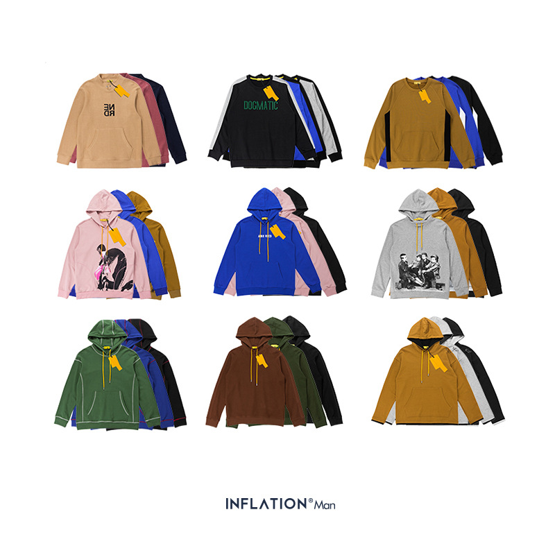 INFLATION Design Mens Fleece Hoodies Hip Hop Hoodies & Sweatshirt For Men Loose Fit Men Hoodies Discount Couple Hoodies