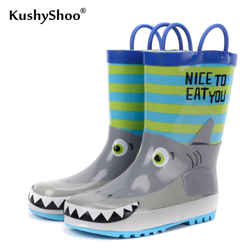 KushyShoo Children's Rubber Boots Waterproof Rain Boots Kids 3D Cartoon Shark Toddler Boys Rainboots Toddler Boots