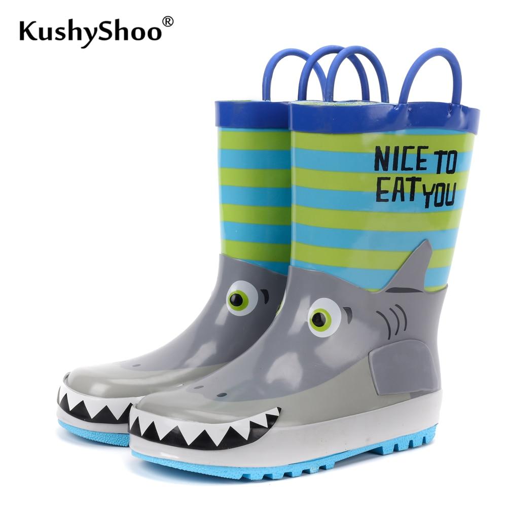 KushyShoo Children's Rubber Boots Waterproof Rain Boots Kids 3D Cartoon Shark Toddler Boys Rainboots Toddler Boots