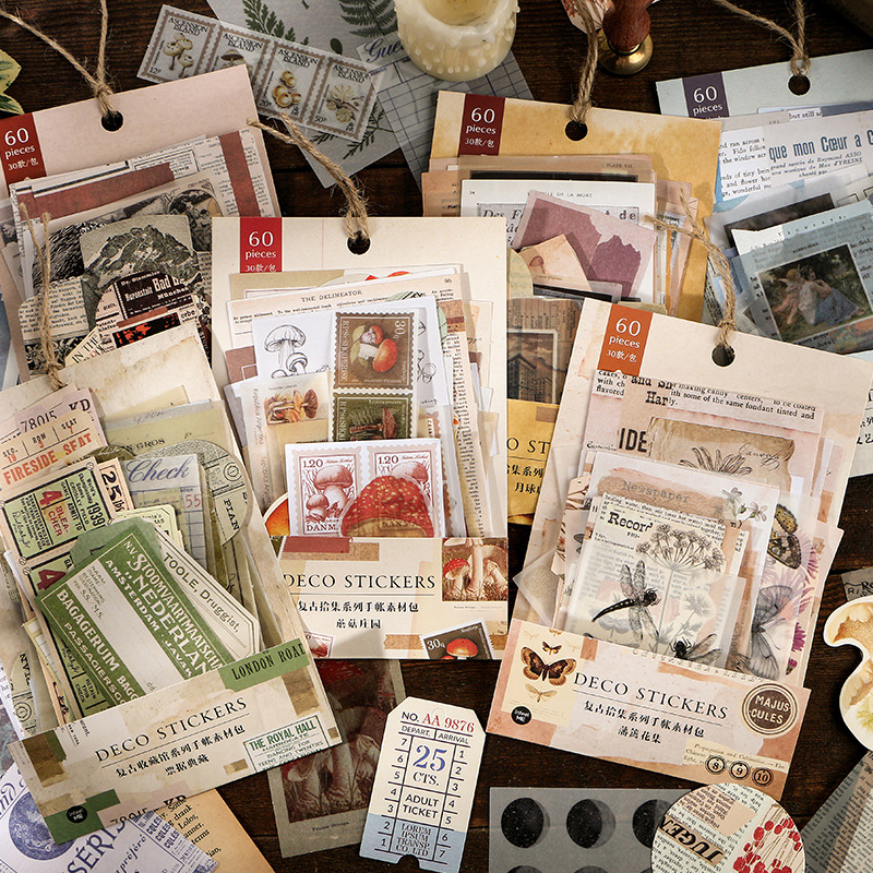60 pcs/set The Collection of Retro Time Ins Paper Stickers Diy Scrapbooking Supplies Travel Statione