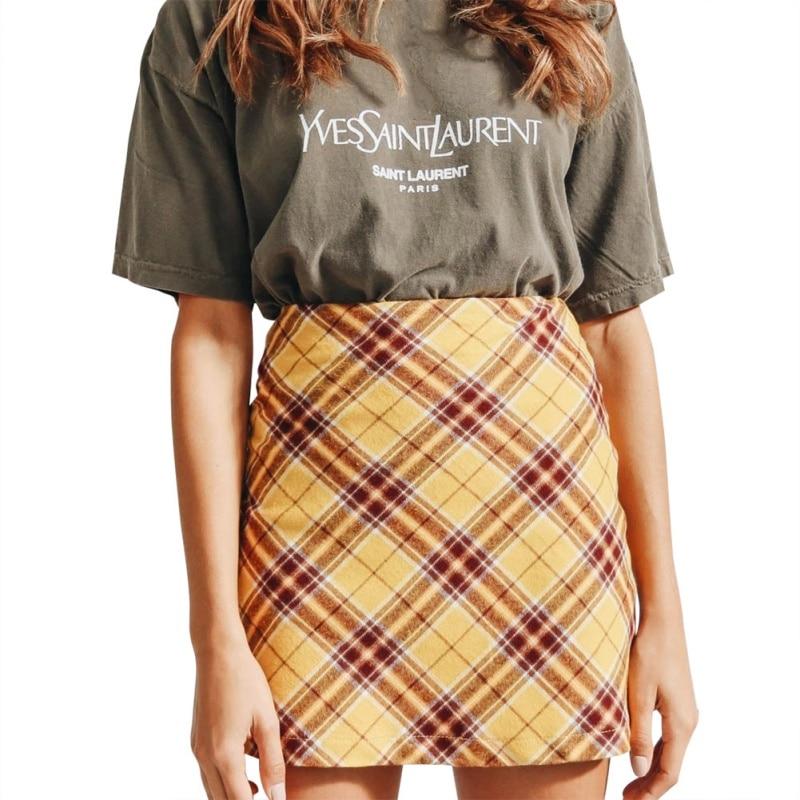 Autumn Spring Women European And American Skirts Fashion Plaid Zipper High Waist Skirt Bag Hip Skirt