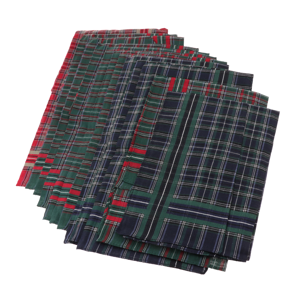 12Pcs Mens Plaid Cotton Handkerchiefs Classic Pocket Square Hanky 40x40cm