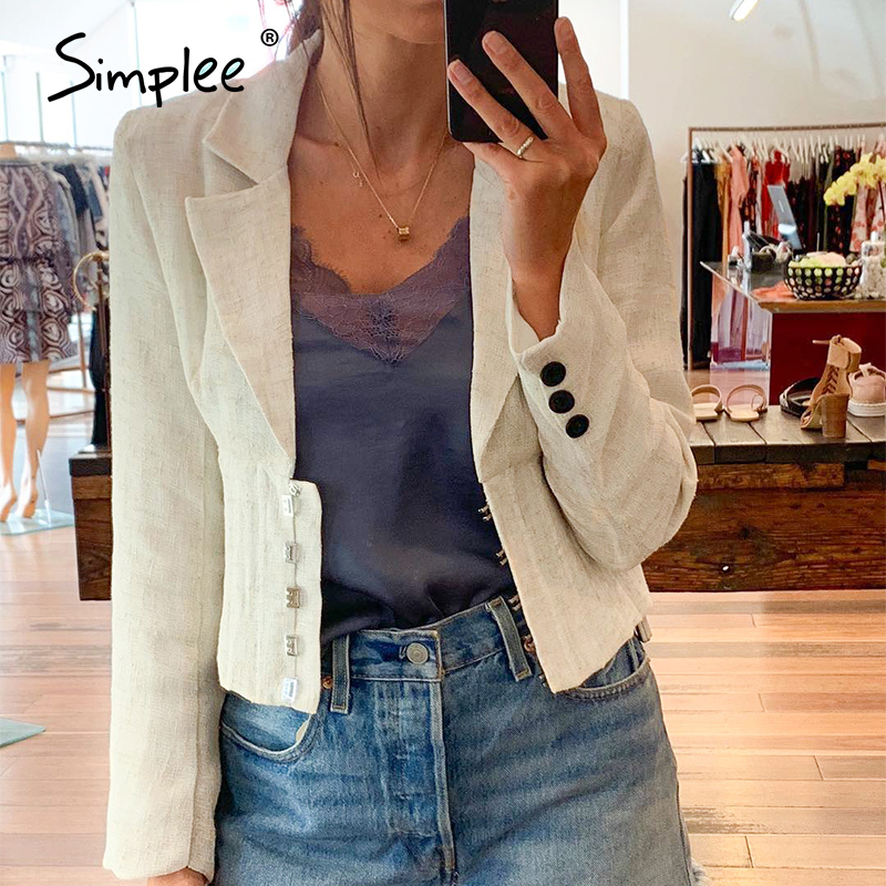 Simplee Button V-neck Women Blazer Coat High Waist Autumn Female Outwear Coat Long Sleeve Solid Office Ladies  Jacket Coat