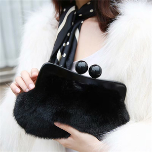 Элегантные женские черные вечерние сумочки IANLAN, клатчи из цельного меха норки, дамские бумажники с зажимом из смолы, IL00571