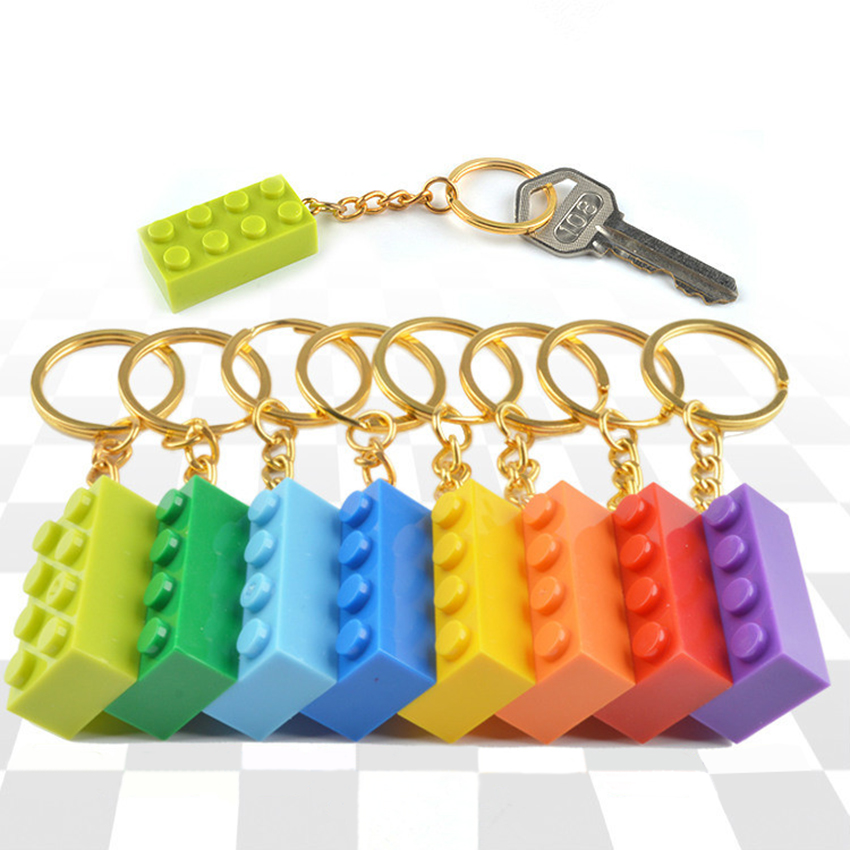 24 LEGO SILVER BRICK BLOCK 2X4 KEY RING CHAIN GREAT BIRTHDAY PARTY FAVOR OR GIFT