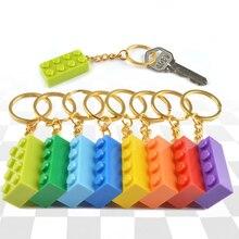 5ピース/セット色ランダムキーリングハートブロックビルディングブロックのアクセサリーキーホルダーモデルキットセットdiyのおもちゃ子供のためのキー