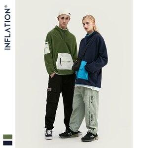 Image 1 - אינפלציה גברים פליס סווטשירט גבוהה רחוב צווארון עומד טלאי זוג סווטשירט חורף פליס סווטשירט 9679W