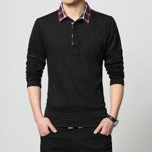 Long Sleeve Tshirt Mens Lapel T-shirt 2019 New Spring Autumn Large Size XXXL 4XL 5XL Men T Shirt Bottoming Korean Clothing