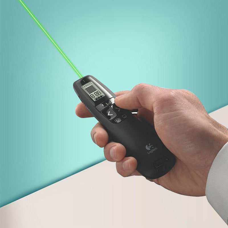 <font><b>Logitech</b></font> 2.4Ghz USB <font><b>R800</b></font> wireless remote control page-turning demonstration PPT special pen green laser pen for office led light image
