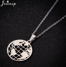 Moda Retro küre dünya haritası kolye basit daire kolye kolye kadın erkek altın paslanmaz çelik zincir takı kolye