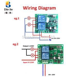 Image 4 - Módulo sem fio universal do receptor do relé da c.a. 85v 433 v 2ch do controle remoto de 220 mhz para a luz eletromecânica da lâmpada da porta da garagem