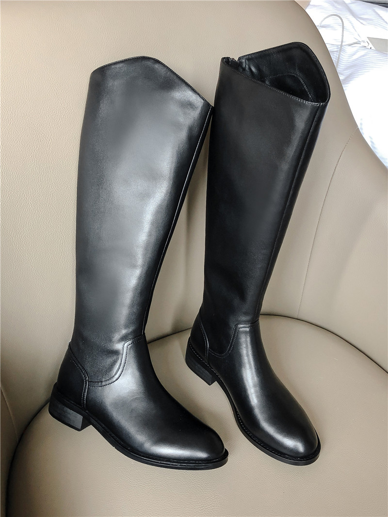 Leather Knee-High Boots Women Shoes Thick Heel Fashion Luxury Winter Booties Lady Zipper Round Toe Nubuck Leather Footwear Shoes
