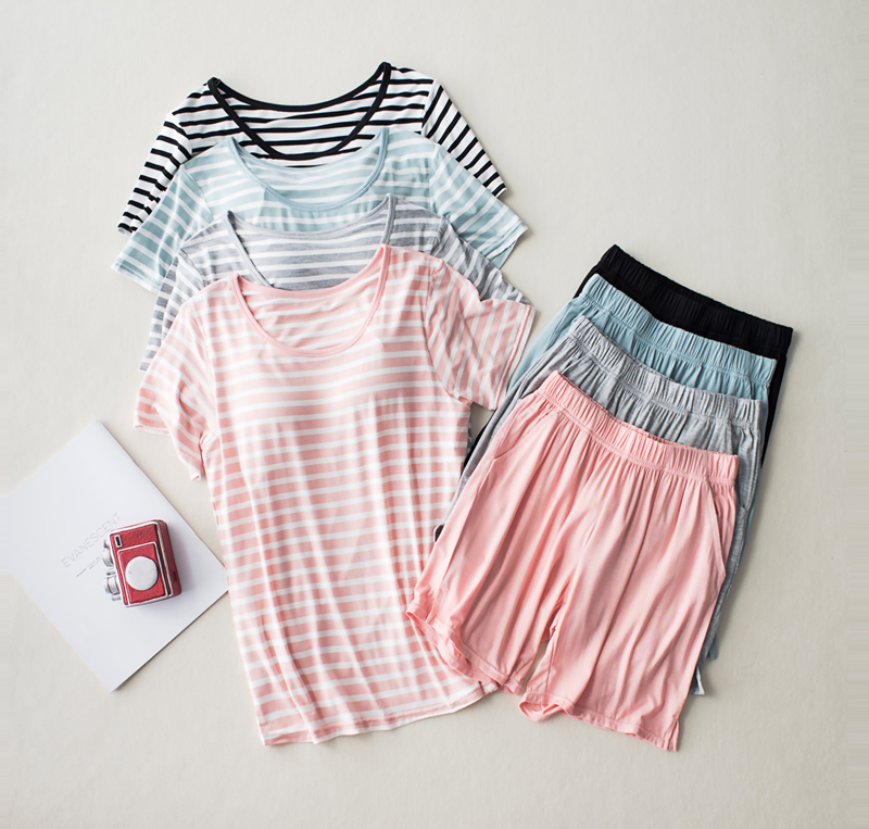 New Modal Lady Short Sleeve Pajamas Set With Bra Pad Bra One Piece Half Sleeve Shorts Striped Loose Large Size Home Wear Set