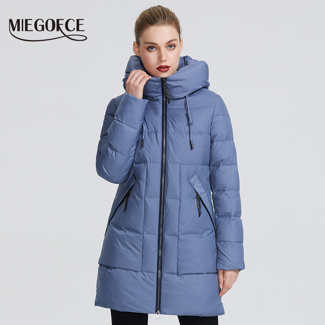 MIEGOFCE 2019 Winter Women Collection Women's Warm Jacket Made With Real Bio Winter Jackets Windproof Stand-Up Collar With Hood 1