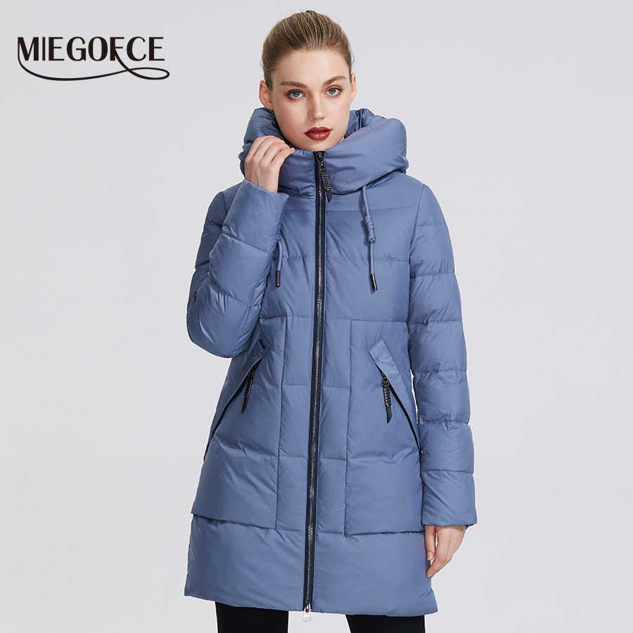 MIEGOFCE 2019 hiver femmes Collection veste chaude pour femme faite avec de vraies vestes d'hiver Bio coupe-vent col montant avec capuche