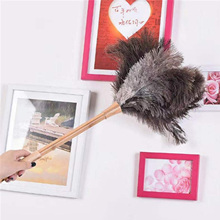Duster Anti-Static Fur-Brush Cleaning-Tool Ostrich Household Wooden-Handle