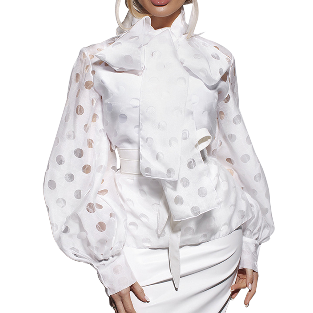 2020 Spring Women New Trends Shirt Female Polka Dot Lantern Sleeve Knotted Blouse Women Chic Office Lady Street Wear