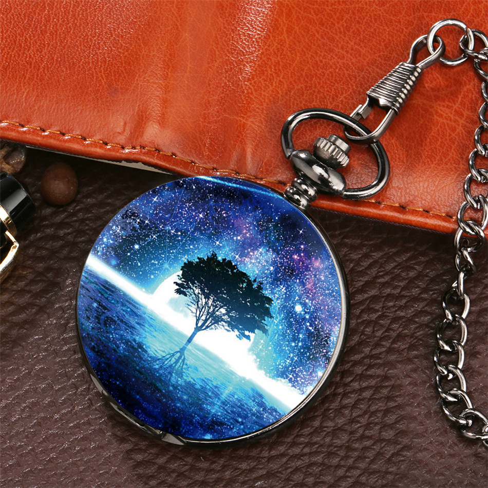 Starry Sky Tree Design Pocket Watch Retro Black Pendant Clock Quartz Full Hunter Pocket Clock Gifts Men Women Reloj De Bolsillo