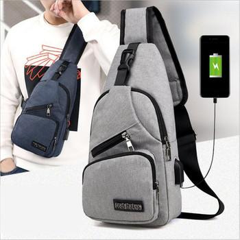 Męskie torby na ramię mężczyźni z zabezpieczeniem przeciw kradzieży torba na klatkę piersiowa torby na ramię USB ładowanie torby Crossbody szorty szkolne torby podróżne tanie i dobre opinie LKEEP poduszka Oxford CN (pochodzenie) zipper Versatile wytrzymała torba moda POLIESTER Unisex Shoulder Bags Stałe NONE