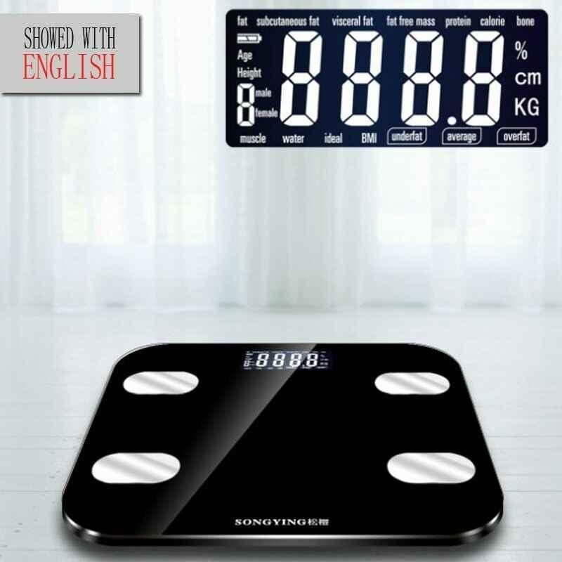 Smart Tubuh Lemak Skala Lantai LCD Digital Nirkabel Ponsel Menerima BMI Weight Monitor Analyzer Kesehatan Kebugaran Menurunkan Berat Badan Alat