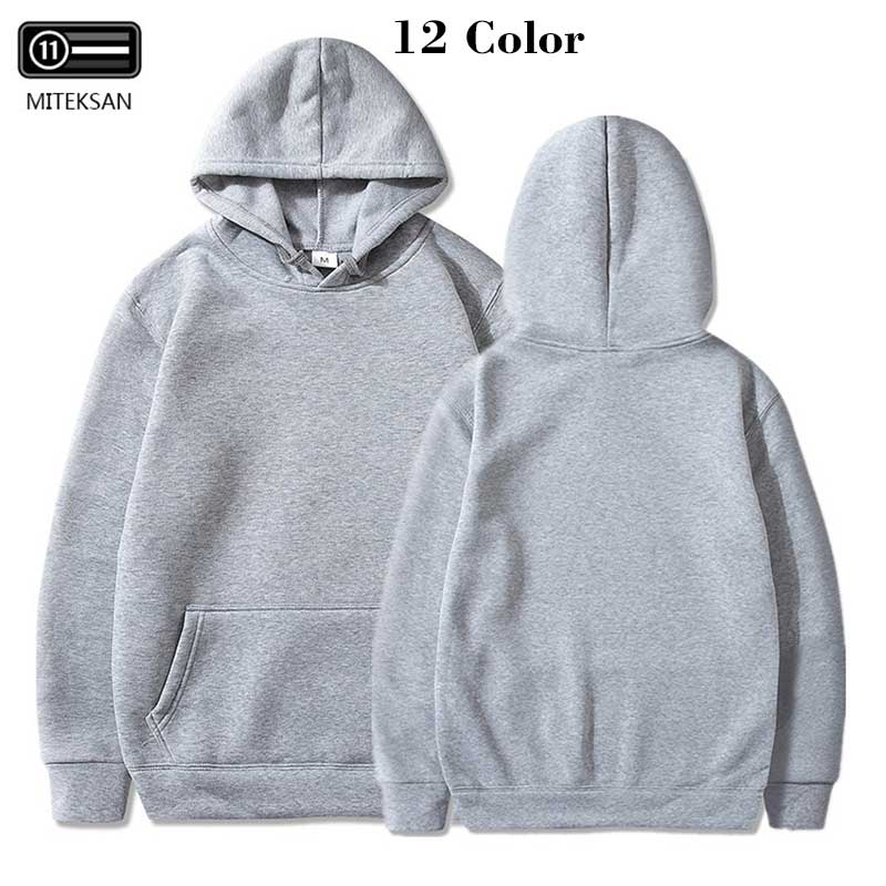 MITEKSAN New Hoodies Men Sweatshirt Off White Hip Hop Solid Pullover Sports Plus Velvet Casual Pull Homme Gym Jogging Sweatshirt